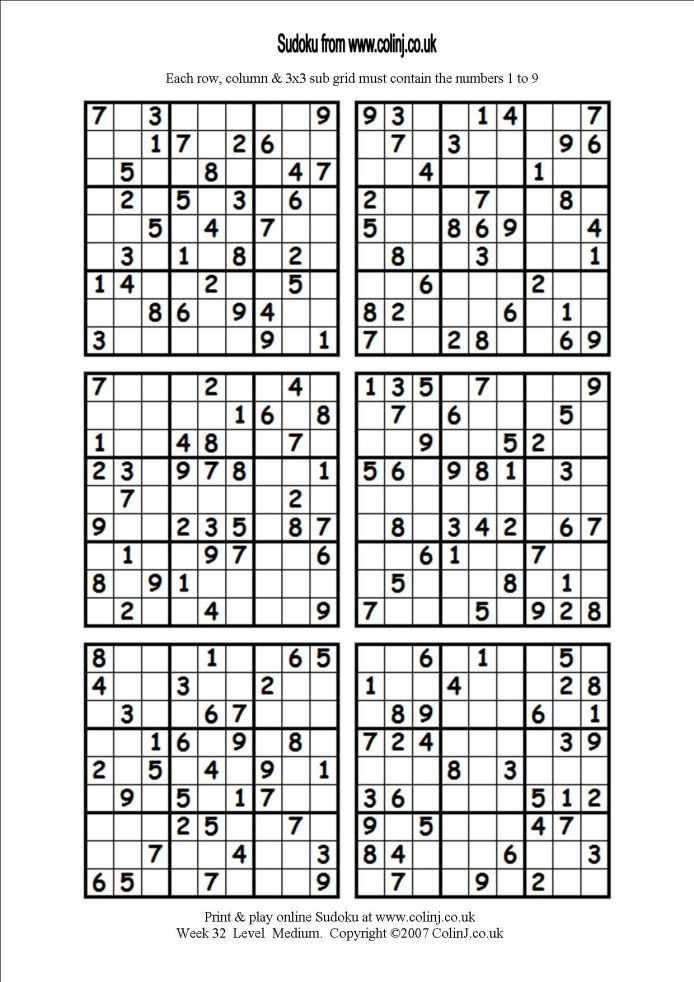 It is a graphic of Nifty Printable Sudoku 6 Per Page
