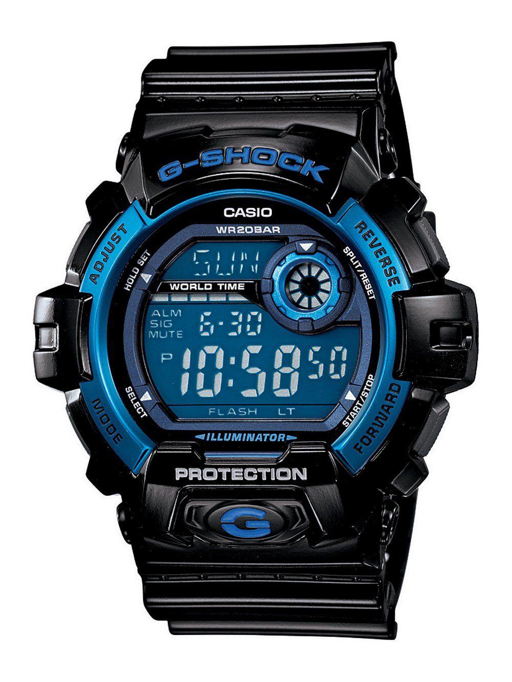 4b9d8fc3daa Casio Men s G8900A-1CR G-Shock Black and Blue Resin Digital Sport Watch