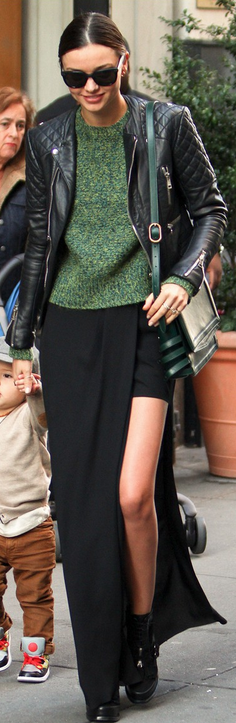 Who made  Miranda Kerr's black boots and black leather jacket that she wore in New York?