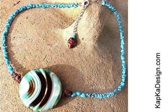 Turquoise Necklace Giant Colorful Onyx Chocolate by KapKaDesign, $162.00