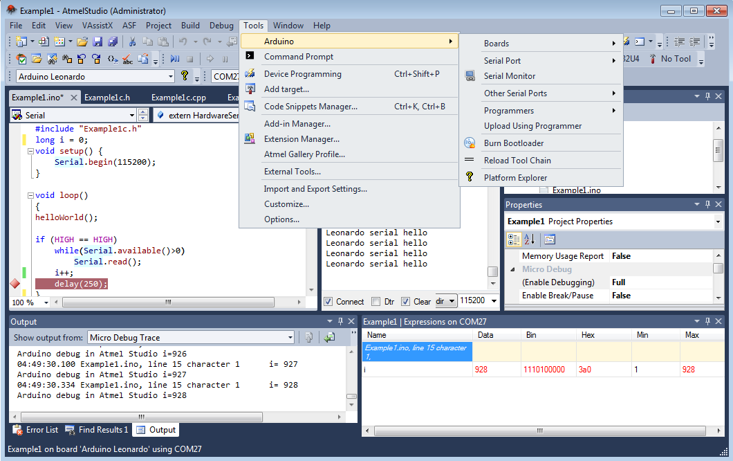 Arduino IDE Plugin for Microsoft Visual Studio and Atmel