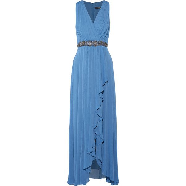 Badgley Mischka - Embellished Draped Crinkled-chiffon Gown (3 185 SEK) ❤ liked on Polyvore featuring dresses, gowns, cobalt blue, blue evening dresses, glamorous evening dresses, cobalt blue evening gown, blue gown and red carpet dresses