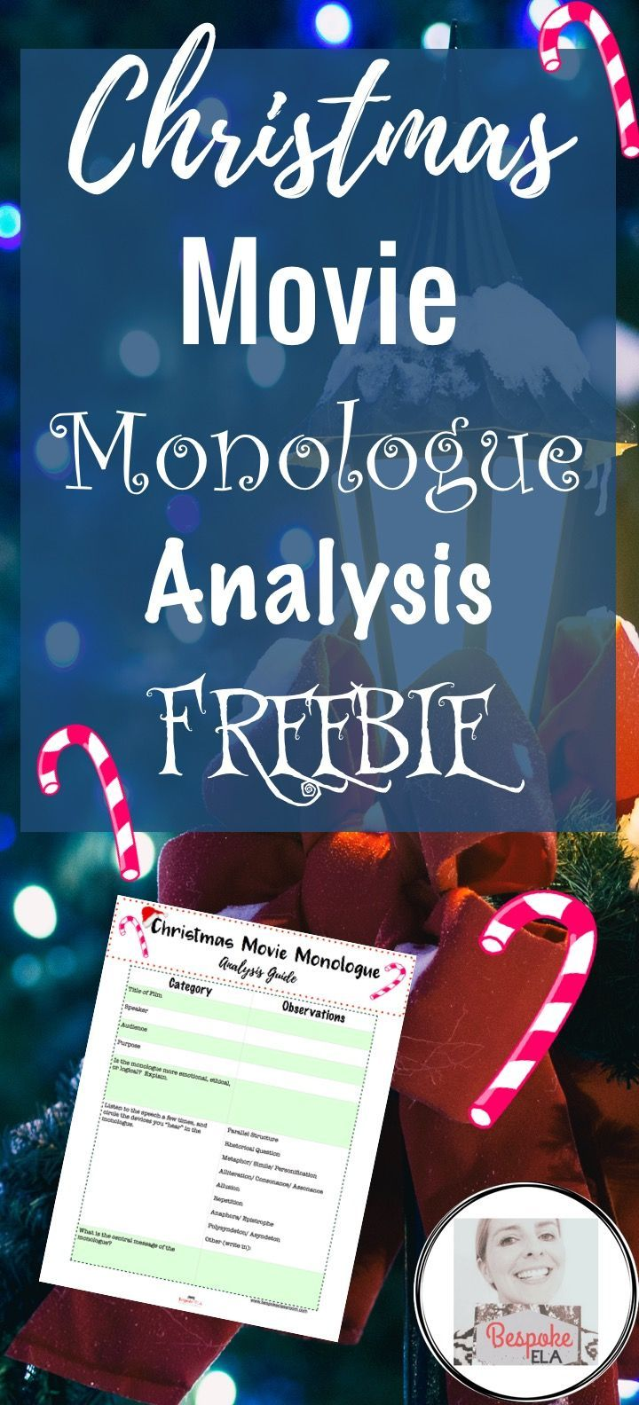 This freebie by Bespoke ELA accompanies a blog article to analyze ...