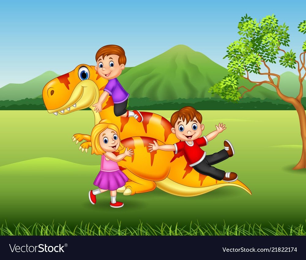 Cartoon little kid playing with a dinosaur vector image on