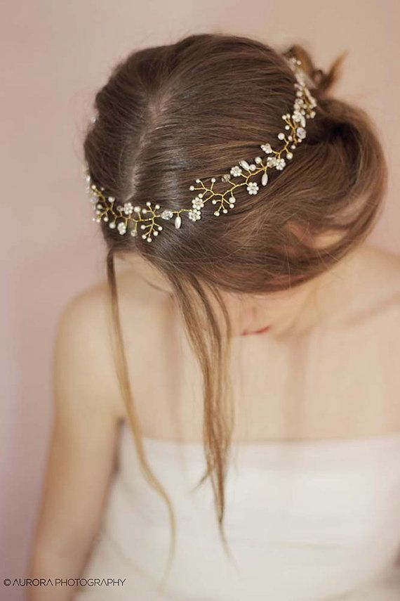 Wedding Pearl Headband Bridal Pearl Hair Vine Pearl Wedding Crown