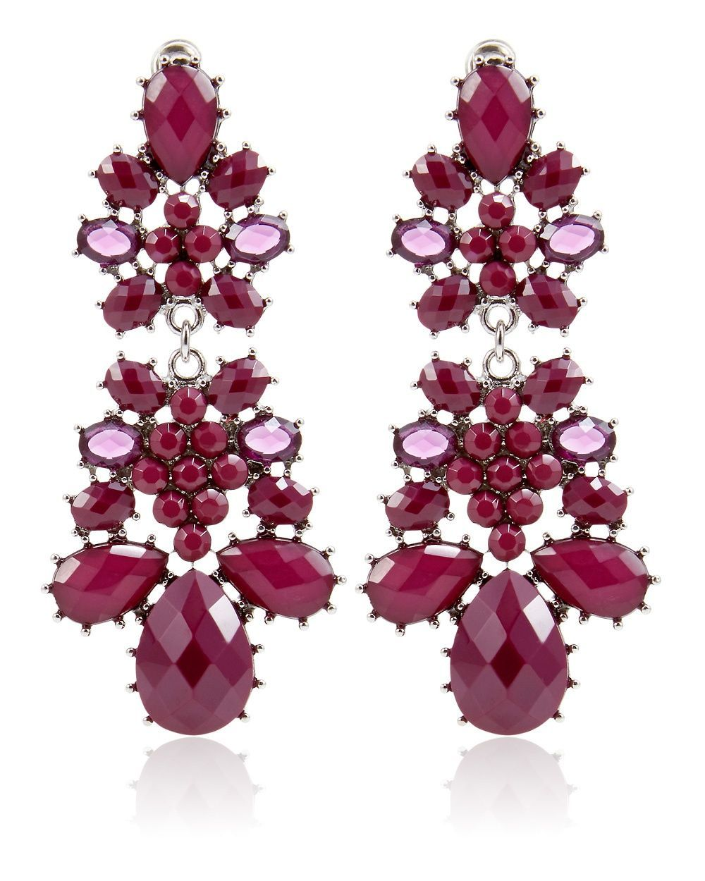 Sleeveless ellipses jacquard shell top chandelier earrings and burgundy drop chandelier earring arubaitofo Choice Image