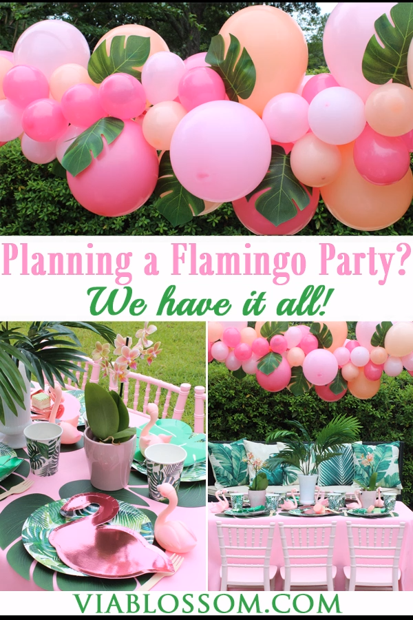 Planning a Tropical Flamingo Party?  We have all the Tropical Party Decorations you've been looking for!  From Tropical Balloon garland to Palm Leaf Plates to Flamingo Decor! #tropicalbridalshower #tropicalpartyideas #flamingopartyideas #viablossom