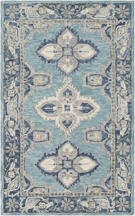 Surya Aqua Bonifate Bft 1000 Rug Traditional Rectangle Blue And Cream Living Room Area Rugs Rugs