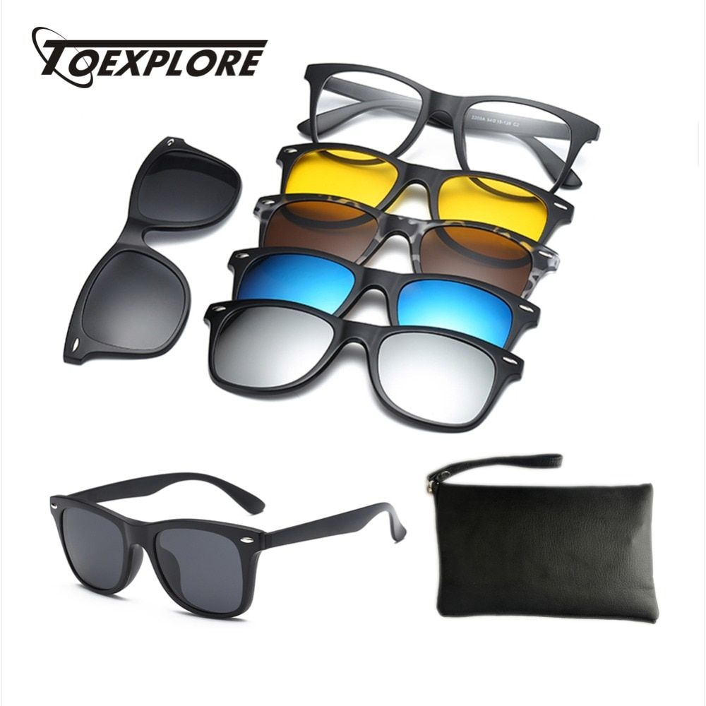 484103df06cc4 TOEXPLORE Polarized Clip On Optical Glasses Women Men Anti-Glare Sun Glasses  Driving Myopia Magnet Eyewear Frame Fishing UV400