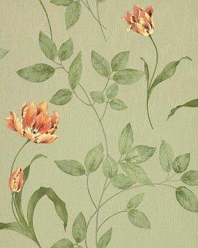 EDEM 769-38 Bloemen behang hoogwaardig vinylbehang met reliëfstructuur licht groen olijfgroen koraal geel