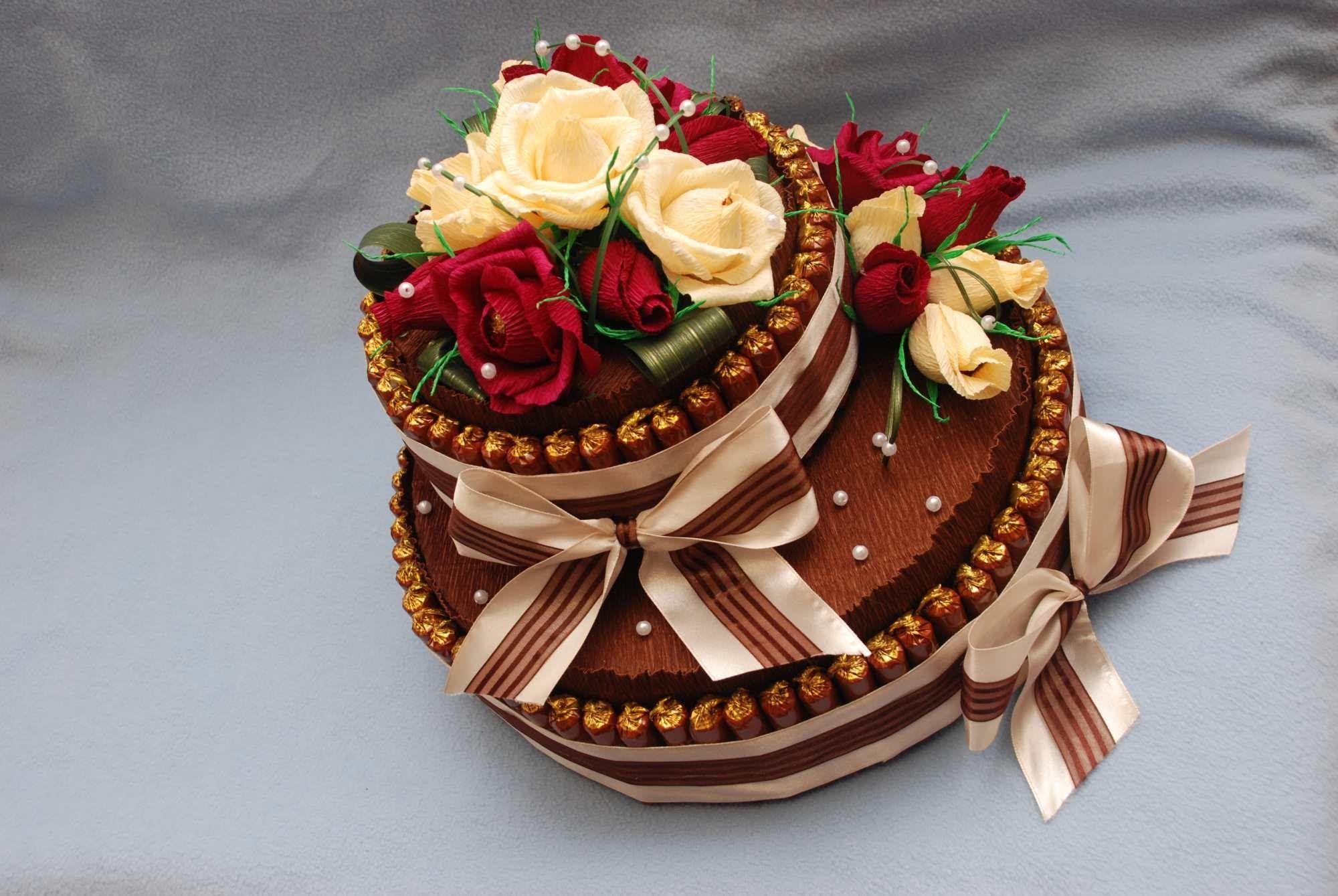 Торт и конфет с цветами своими руками фото 789