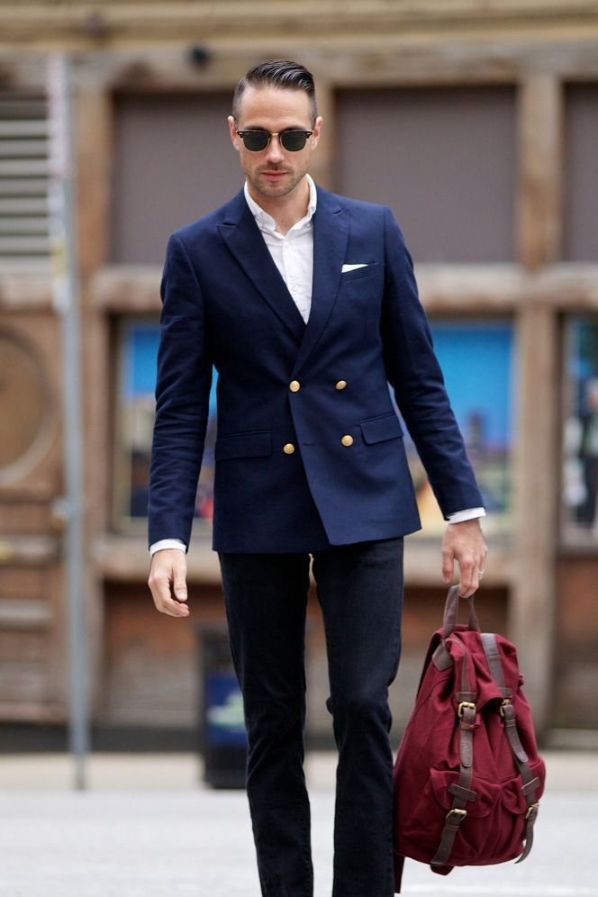 8e5506eb081 Marry a navy double breasted blazer with black jeans for a work-approved  look.