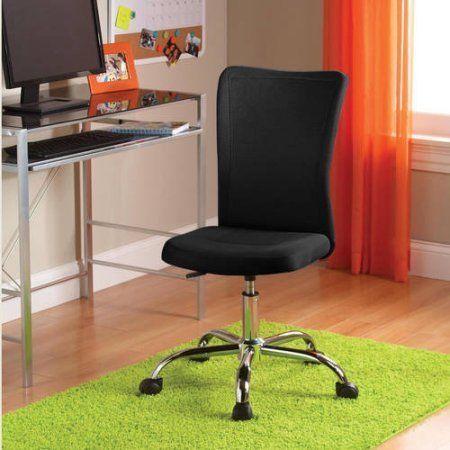 NEW Mainstays Desk Chair, Home Office Chair Sturdy Chrome Base Adjustable  Black