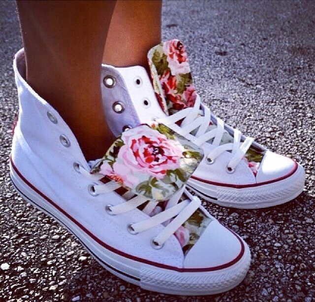 7b3ed6f45bd4 White hightop Converse with rose tongue. I gotta have.