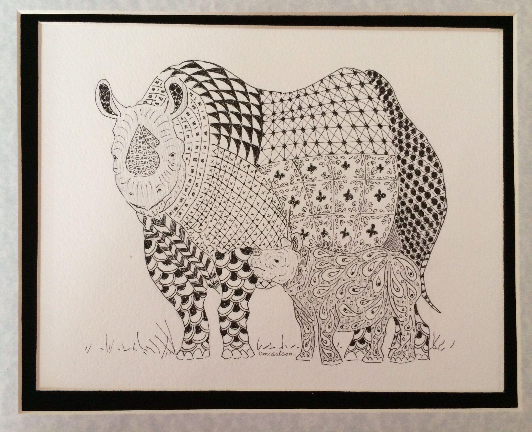 Zentangled rhino with paisley calf