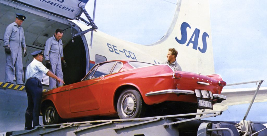 Volvo-car liftet onto a DC-7F, 1960s  image credit:The SAS Museum