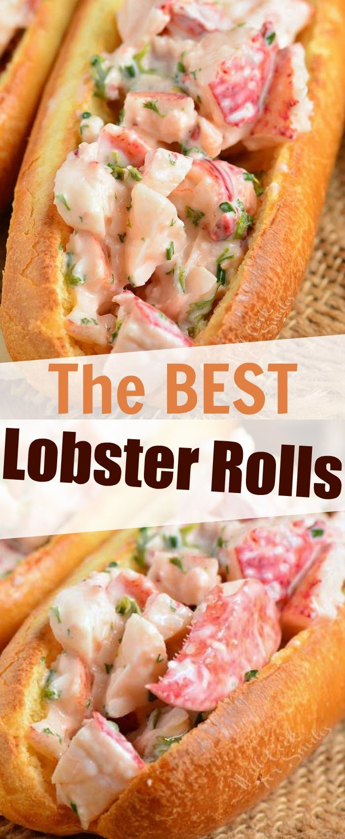 Lobster Rolls are made with succulent lobster meat salad falvored with lemon, mayonnaise and herbs and served on a warm, buttery bun. Learn hot to cook and pull apart a lobster. #lobster #rolls #sandwich #seafood #easydinner