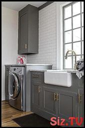 Charcoal gray laundry room features charcoal gray  #adorned #Brass #Cabinets #Ch...,  #adorne...#adorne #adorned #brass #cabinets #charcoal #features #gray #laundry #room #graylaundryrooms