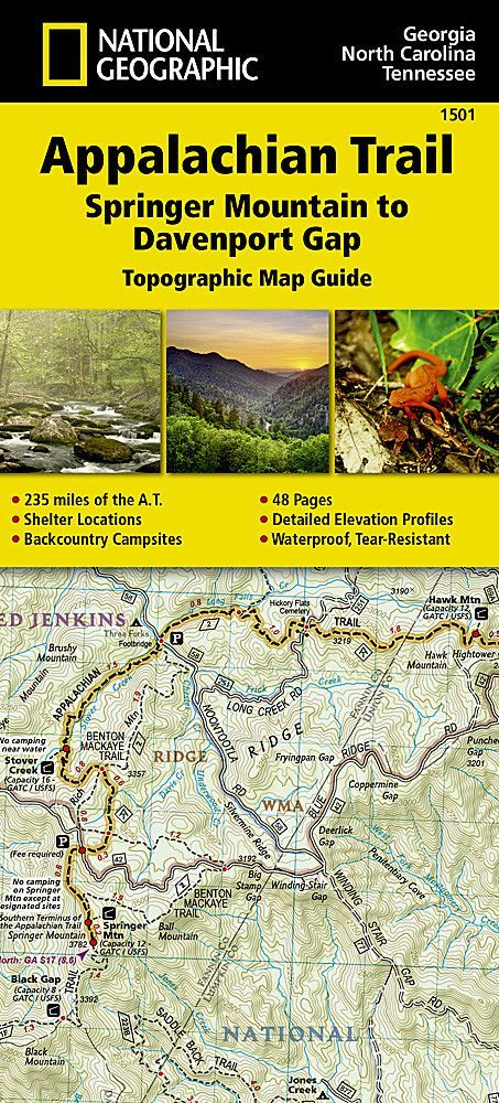 Appalachian Trail Topographic Map Guide Springer Mountain To - Topographic hiking maps