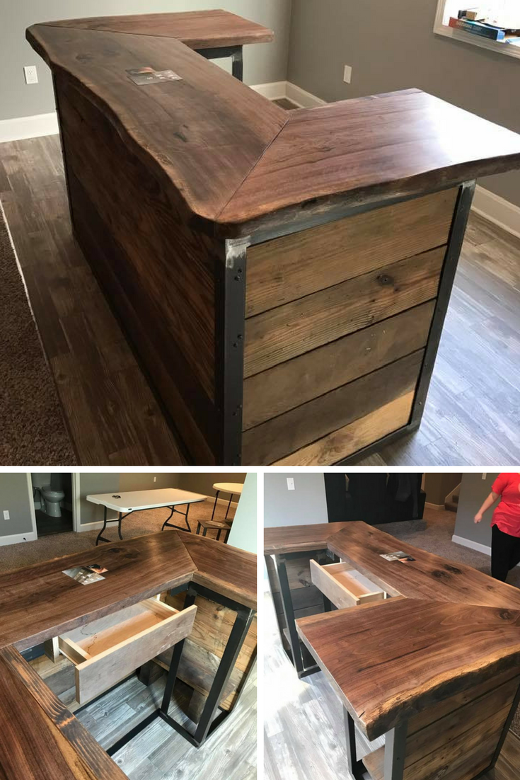 combo of barn wood  live edge walnut  u0026 metal for this small reception desk  it has a rustic feel