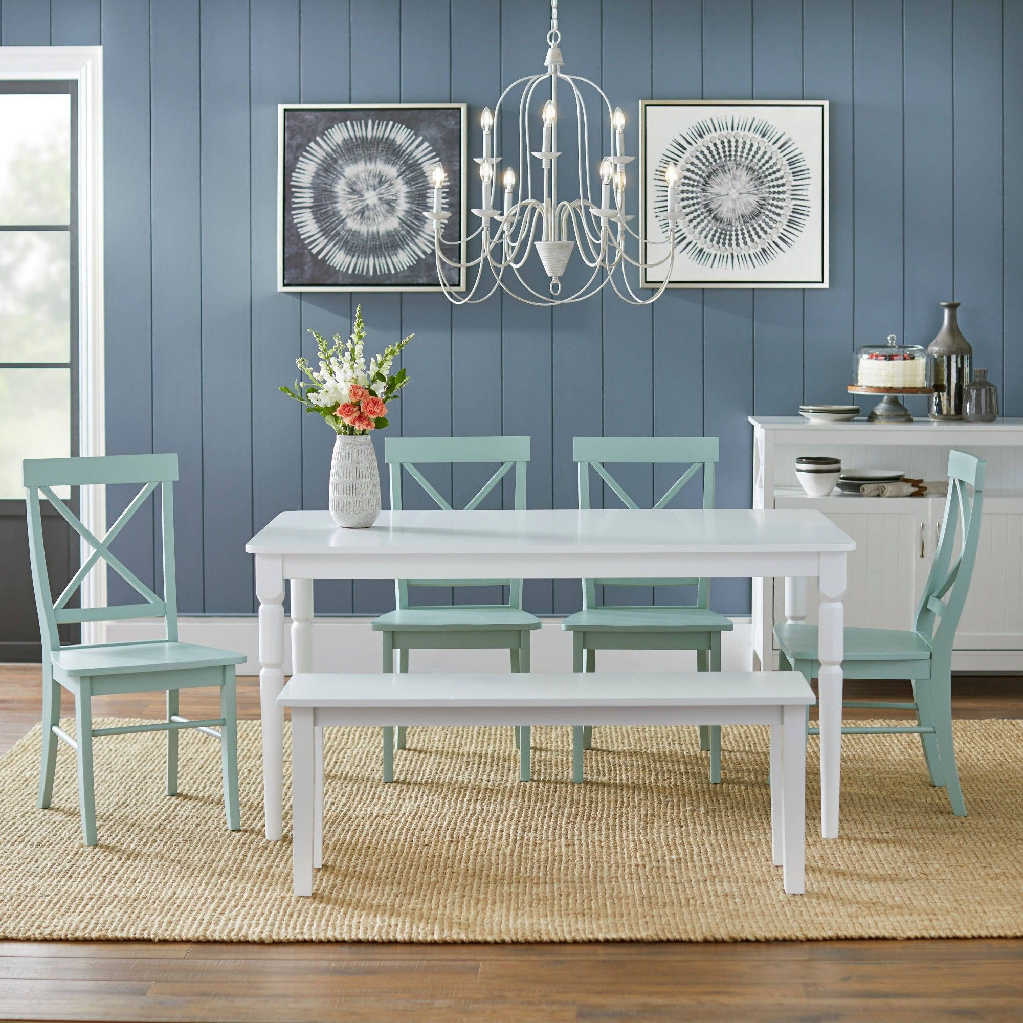 Target Marketing Sys Dining Table Set Mint Green Green Green