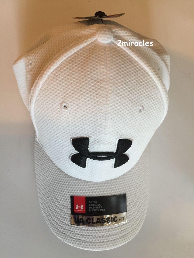 Under Armour UA Classic Fit Men s M L Headgear Keep Cool White Black Hat  Cap NWT  UnderArmour  HatCap 88657f86125