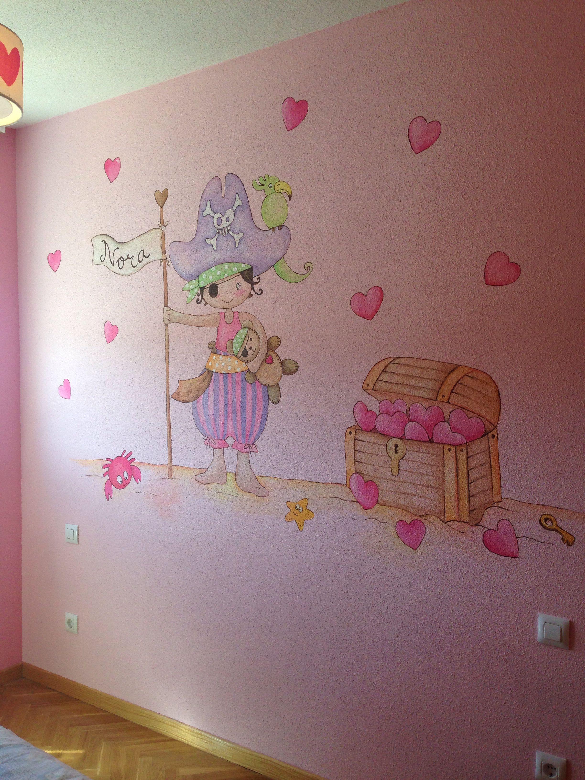Mural infantil piratas decoracion infantil para mi for Decoracion paredes habitacion bebe nina