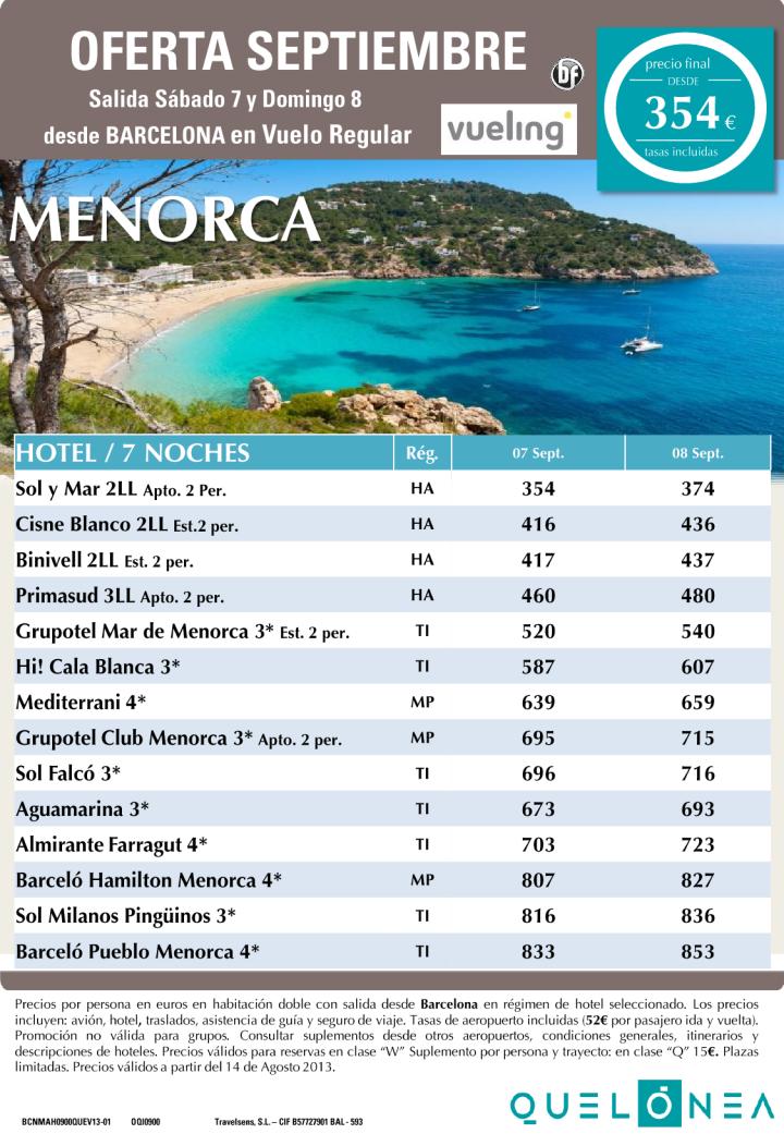 Menorca desde 354€ Tasas incluidas. Oferta Septiembre - 7 Noches - http://zocotours.com/menorca-desde-354e-tasas-incluidas-oferta-septiembre-7-noches/
