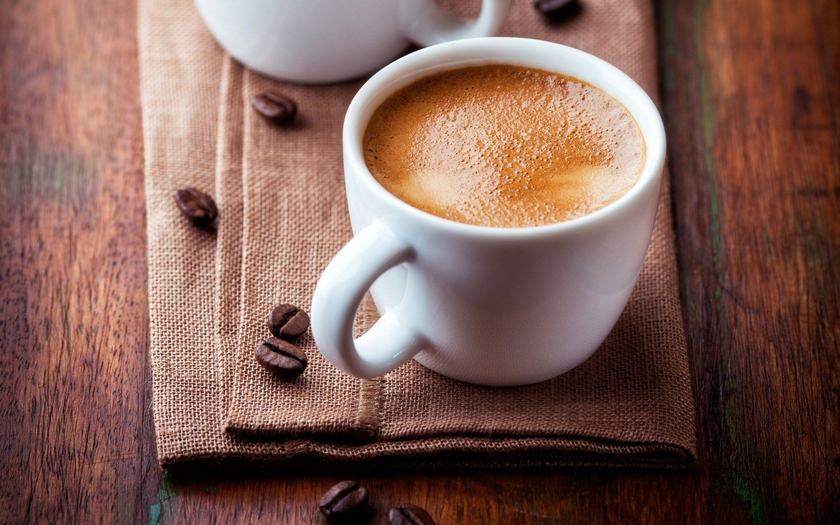 Coffee Cup Beans Fabric HD Wallpaper - ZoomWalls