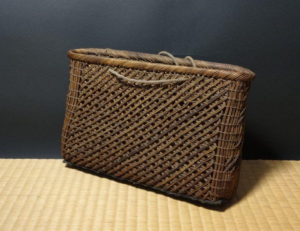 680  11 x 30 Japanese wicker hip basket kago. Japan Minge Folk art Hanakago vase 680
