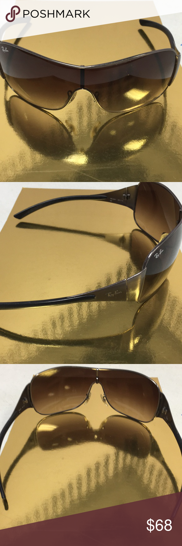 18a46b0edf Rayban sunglasses Gunmetal Shield Rb3321 ☀ No scratches on the Gunmetal  shield color Raybans Rb 3321. Great condition. Has Rayban stamp on left  right and ...