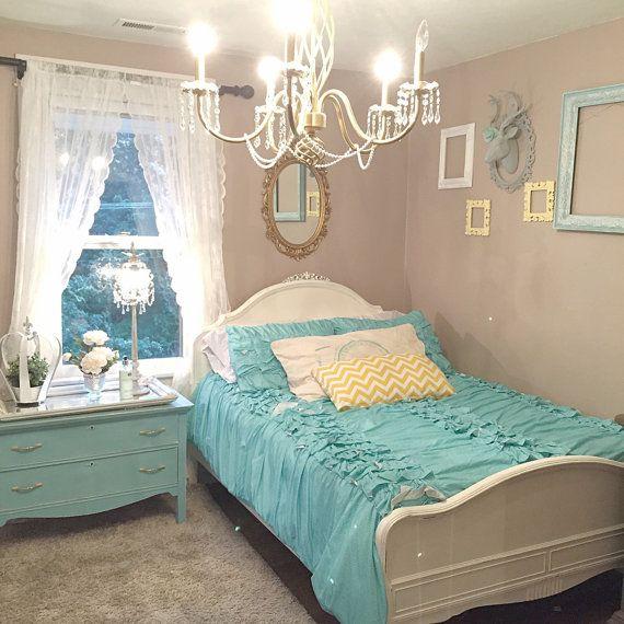Full Size Bed Frame White Chalk Paint Pearl Glaze Girls Bedroom