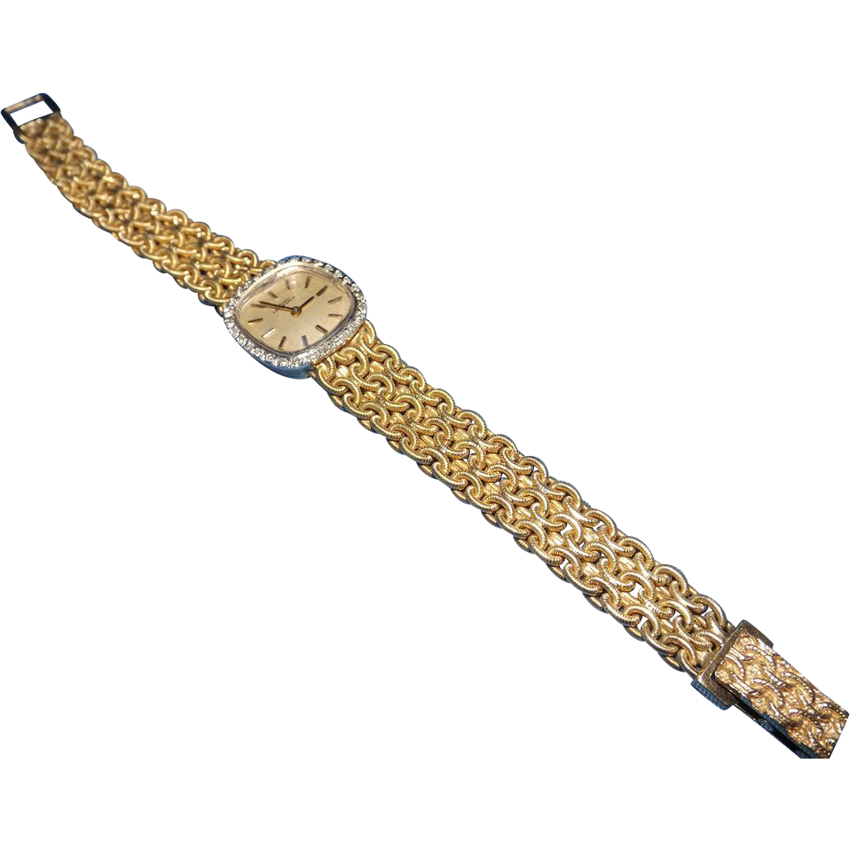 Vintage 14 K Yellow Gold Girard Perregaux Ladies Watch Vintage Jewelry Gold Womens Watches