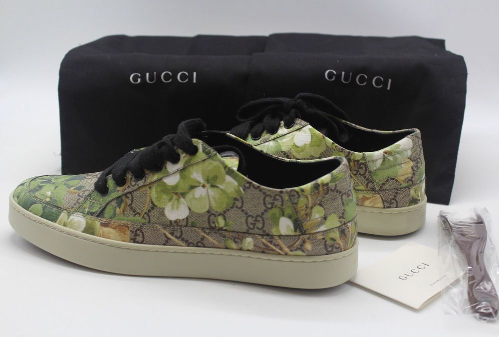 ed49164927594a Gucci Supreme GG Canvas Bloom Print Green Flower Sneaker 407343 KU2NO 8960  (eBay Link)