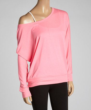 Another great find on #zulily! Hot Pink Off-Shoulder Tee by 717 Yoga Couture #zulilyfinds
