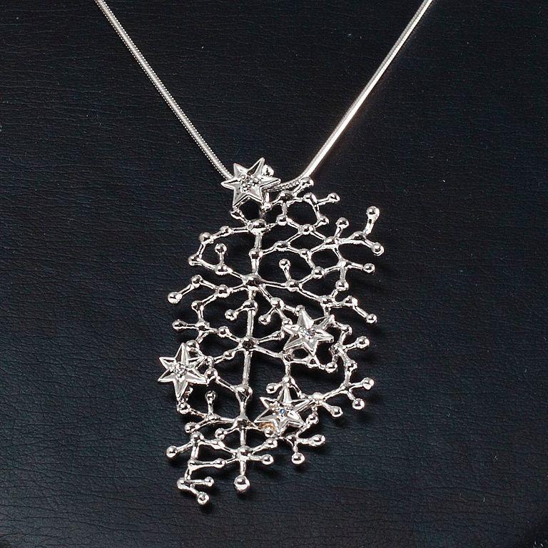 "Tapio Wirkkala, ""Star Sky"" pendant in silver and zircons. Recent production,"