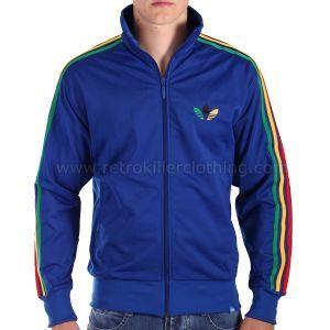 pretty nice 89fc3 c5db5 Adidas Originals Firebird Rasta Ethiopia Jamaica Bob Marley Blue Tracksuit  Top - Mens - P04313