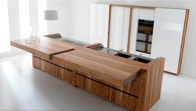 plan de travail moderne en bois   Small luxury homes, Modern ...