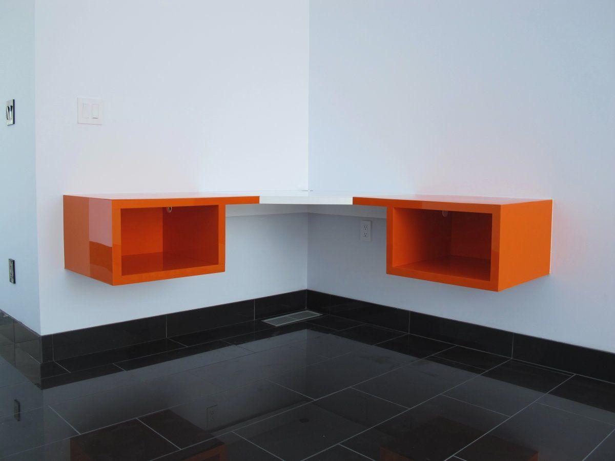Modern style two tone white floating corner shelves with wall mount orange storage combine black ceramic flooring endearing floating corner shelves
