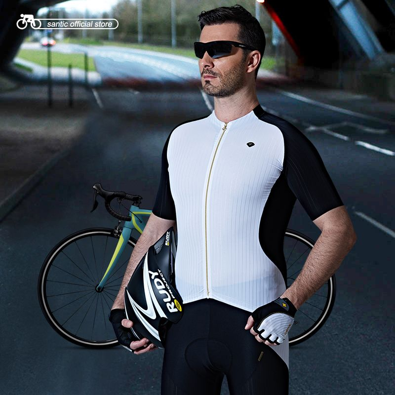 Santic Men Cycling Short Jersey Extreme Fit Imported Water Diffusible  Fabric Road Bike Short Sleeve Cycling dff83140b