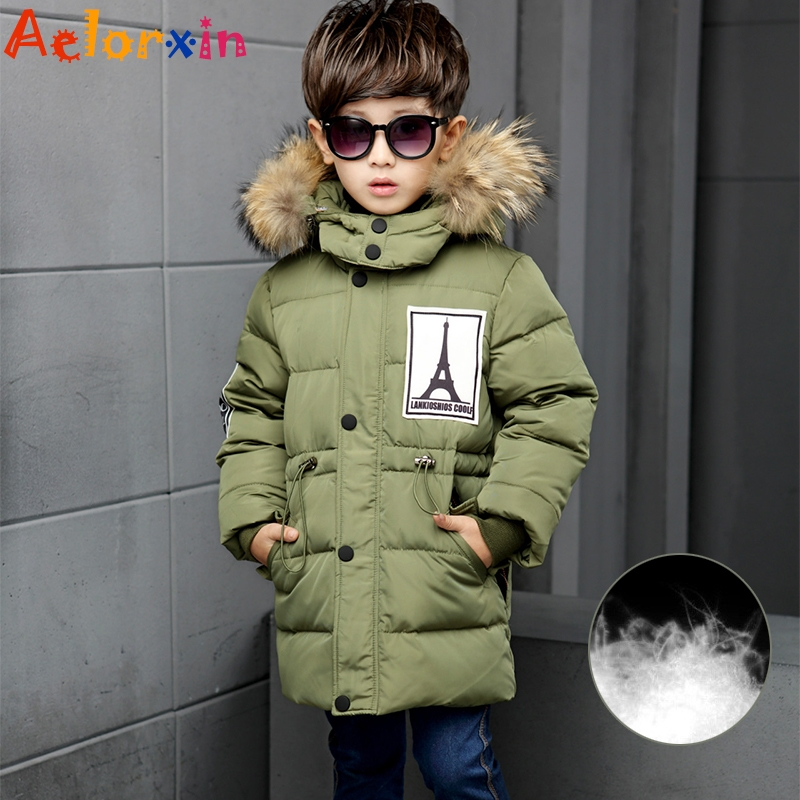 66.52$  Buy now - http://alilzm.worldwells.pw/go.php?t=32760179228 - Winter Boys Down Jackets Parkas Coats Coats for Boys Clothing 4 6 8 10 Years Letter Pattern Children Outerwear Thicken Warm Down