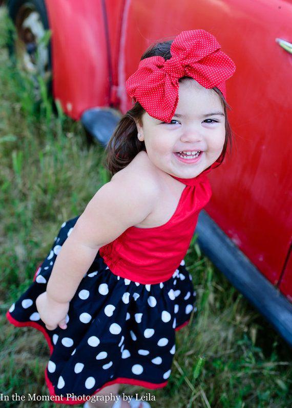 Headwrap bebé rojo / / Polka rojo bebé diadema por AngelasDesignsNY