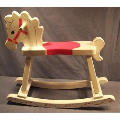 The Puzzle Man Toys W 2205 Wooden Rocking Horse Painted White
