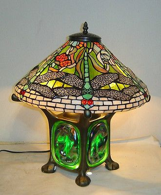 New Tiffany Style Green Dragonfly Table Lamp Stained Glass Tiffany Lighting Avec Images Lamp Lampes Tiffany Decoration