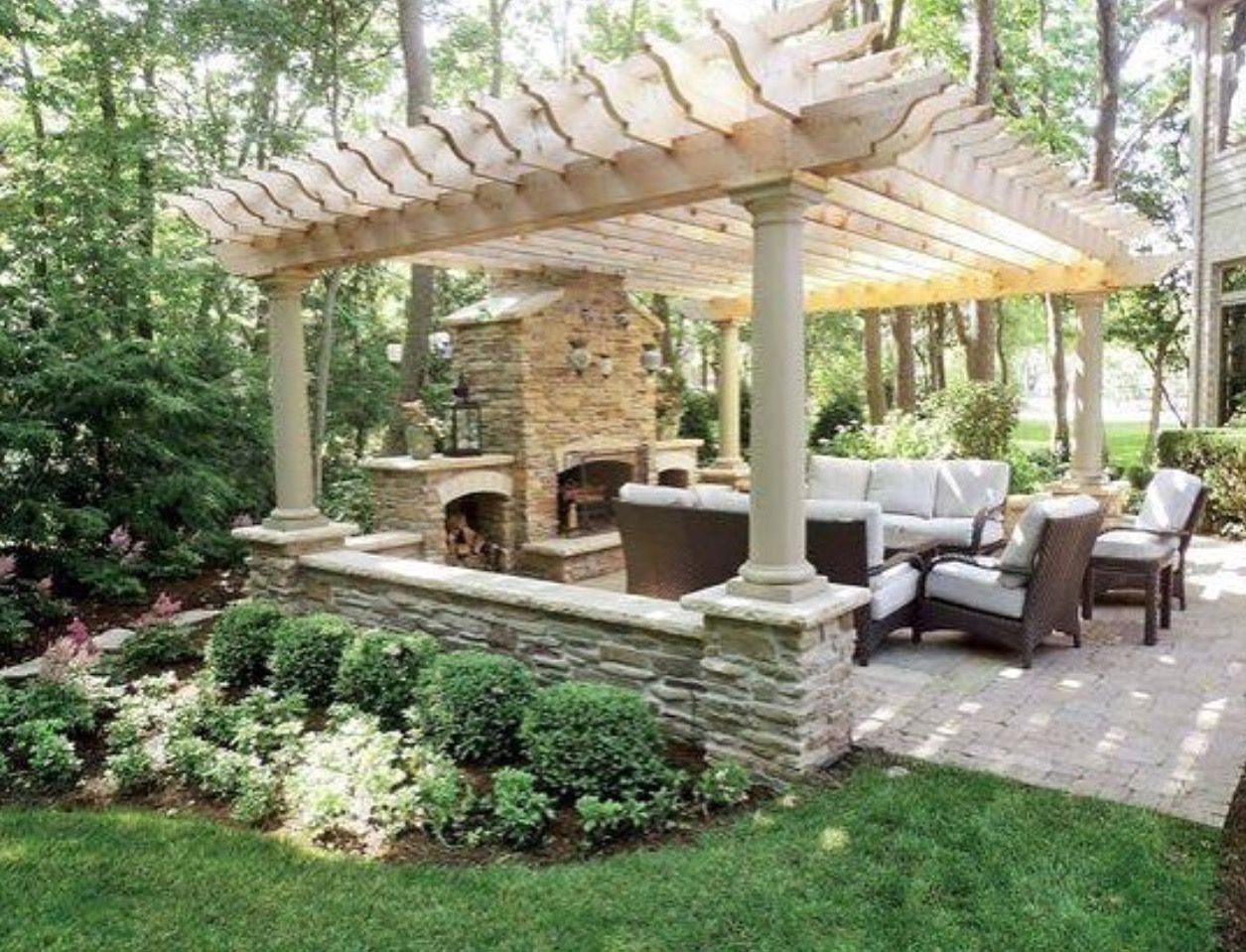 Pavilion with outdoor fireplace backyard pinterest backyard