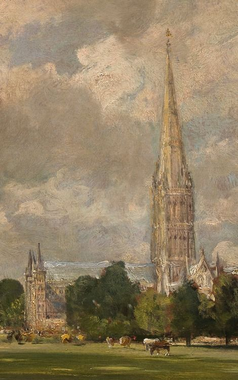 """""""Salisbury Cathedral from Lower Marsh Close"""" (detail), 1820, John Constable."""