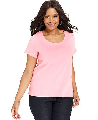 Charter Club Plus Size Short-Sleeve Pima Cotton Scoop-Neck Top - Plus Size Tops - Plus Sizes - Macy's