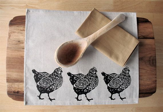 Placemat set of 4 Chicken in NATURAL linen blend hand printed Placemats Natural linen