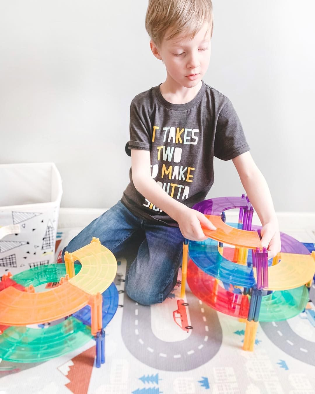 PicassoTiles 80 Piece Race Car Track Building Block Educational Toy Set Magnetic