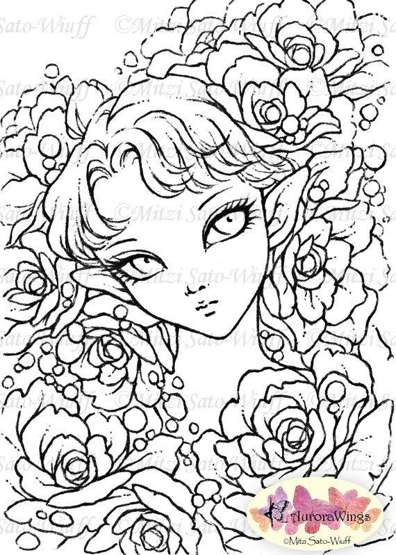 Digital Stamp Rose Fairy Instant Download Big Eye